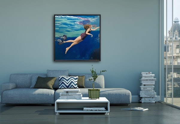 (CreativeWork) Deep Blue by sara bell. Oil Paint. Shop online at Bluethumb.