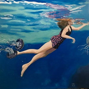 (CreativeWork) Deep Blue by sara bell. oil-painting. Shop online at Bluethumb.