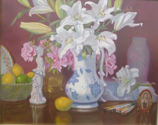 (CreativeWork) WHITE LILLIUMS by Glen Gillard. Oil Paint. Shop online at Bluethumb.