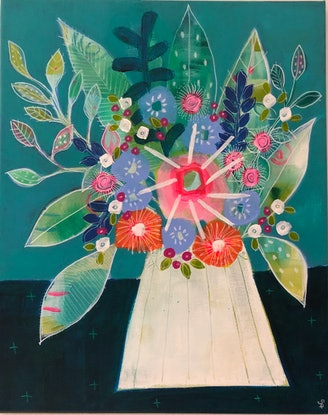 (CreativeWork) Feels like Spring by Sue Fantini. Acrylic Paint. Shop online at Bluethumb.
