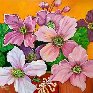 (CreativeWork) Clematis in a Vase by Natasha Ruffio. arcylic-painting. Shop online at Bluethumb.