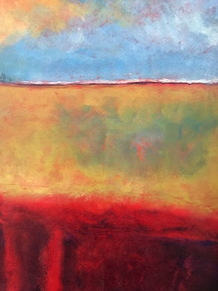 (CreativeWork) Red Lines by LOUISE GROVE WIECHERS. Acrylic Paint. Shop online at Bluethumb.