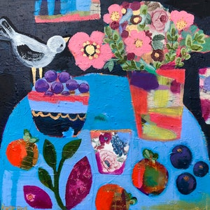 (CreativeWork) Striking black and blue still life with pink flowers and purple plums. by Sandra Oost. mixed-media. Shop online at Bluethumb.