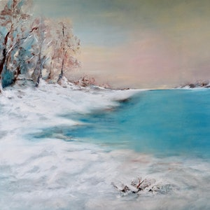 (CreativeWork) Winter Lake by Jan Brown. oil-painting. Shop online at Bluethumb.