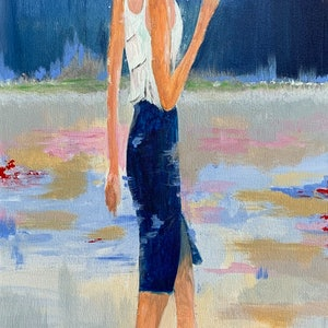 (CreativeWork) Lady with umbrella 1 by Tom Roso. arcylic-painting. Shop online at Bluethumb.