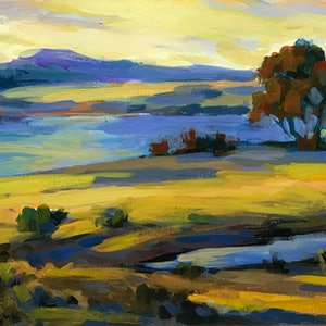 (CreativeWork) Autumn at Lakeside by Fangmin Wu. oil-painting. Shop online at Bluethumb.