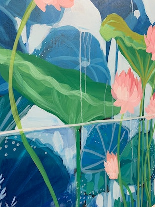 (CreativeWork) Nymphaea by Clair Bremner. Acrylic Paint. Shop online at Bluethumb.