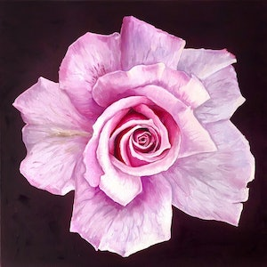 (CreativeWork) Lilac Rose by Holly Harper. oil-painting. Shop online at Bluethumb.