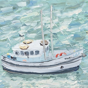 "(CreativeWork) ""Fishing Boat, Berry's Bay - Plein Air"" by Sally West. oil-painting. Shop online at Bluethumb."