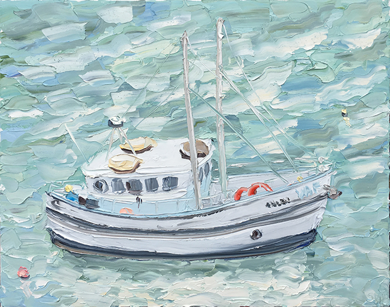 "(CreativeWork) ""Fishing Boat, Berry's Bay - Plein Air"" by Sally West. Oil Paint. Shop online at Bluethumb."