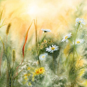 (CreativeWork) Morning Meadow by Cecilia Xiao. watercolour. Shop online at Bluethumb.