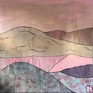 (CreativeWork) Layers of Landscape by Sally Dunbar. mixed-media. Shop online at Bluethumb.