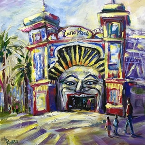 (CreativeWork) LUNA PARK by Ivana Pinaffo. arcylic-painting. Shop online at Bluethumb.