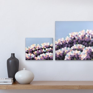 (CreativeWork) PURPLE BLOOMS - abstract diptych by Kerry Leigh. arcylic-painting. Shop online at Bluethumb.