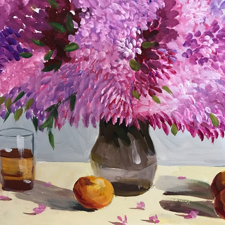 (CreativeWork) Flower Painting Oil- UNFRAMED  by Christina Sun. Oil Paint. Shop online at Bluethumb.