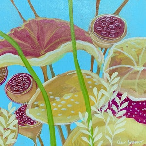 (CreativeWork) Pink Lotus 1 by Clair Bremner. arcylic-painting. Shop online at Bluethumb.