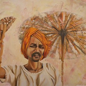 (CreativeWork) The Afternoon Sun by Sandhya Padma. oil-painting. Shop online at Bluethumb.