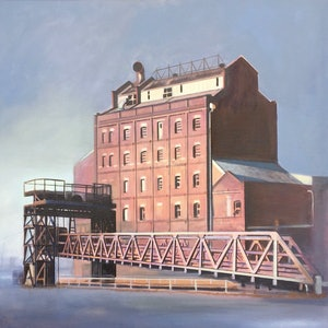 (CreativeWork) Hart's Mill, Port Adelaide by Ross Morgan. acrylic-painting. Shop online at Bluethumb.