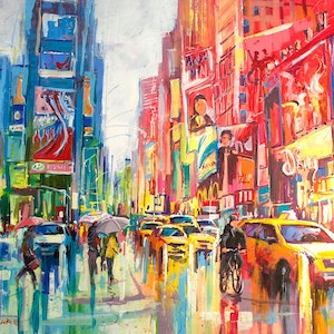 (CreativeWork) Times Square New York by Jos Coufreur. arcylic-painting. Shop online at Bluethumb.
