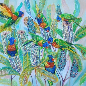 (CreativeWork) Lorikeets and Banksia by Joanne Scriha. oil-painting. Shop online at Bluethumb.