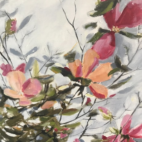 (CreativeWork) Floral Dreams 1 by Leanne Manns. Acrylic Paint. Shop online at Bluethumb.