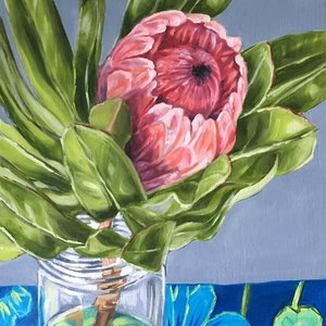 (CreativeWork) Protea Study in Blue by Alicia Cornwell. oil-painting. Shop online at Bluethumb.