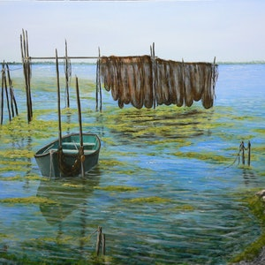 (CreativeWork) Until The Next Catch by Gerard Maille. oil-painting. Shop online at Bluethumb.