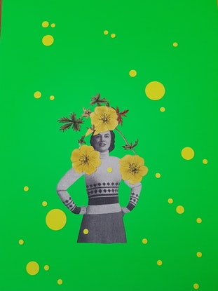 (CreativeWork) 'Collage - Flowers in her hair' - #4 by Karen Coull. Mixed Media. Shop online at Bluethumb.