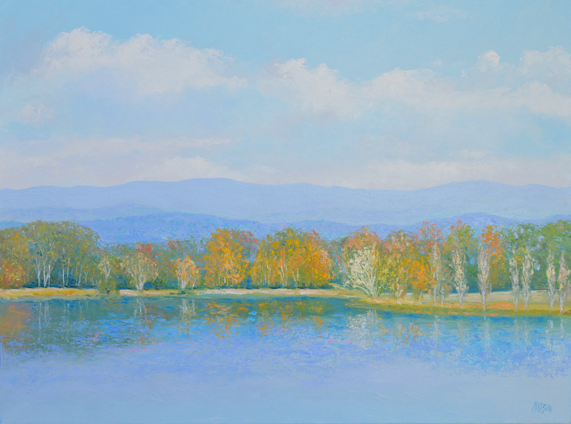 (CreativeWork) AUTUMN, LAKE BURLEY GRIFFIN, CANBERRA by Jan Matson. oil-painting. Shop online at Bluethumb.