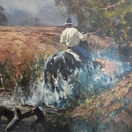 (CreativeWork) 'CREEK CHASE' by ROBERT HAGAN  collectible    by Robert Hagan. Oil Paint. Shop online at Bluethumb.