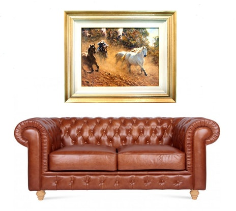 (CreativeWork) 'THE CHASE'  by ROBERT HAGAN investment piece by Robert Hagan. Oil Paint. Shop online at Bluethumb.