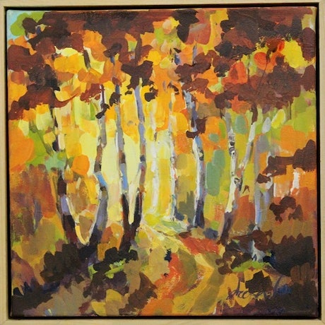 (CreativeWork) Avenue in Autumn by Leeka Gruzdeff. Acrylic Paint. Shop online at Bluethumb.
