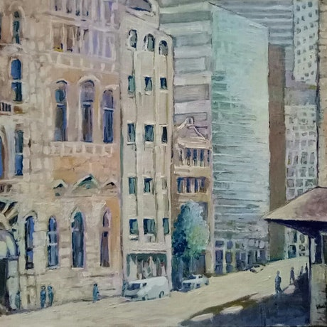 (CreativeWork) City Life by Christopher McCarthy. Oil Paint. Shop online at Bluethumb.