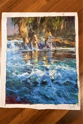 (CreativeWork) 'RIVER CROSSING'  by Robert Hagan - collectible iconic Australiana by Robert Hagan. Oil Paint. Shop online at Bluethumb.
