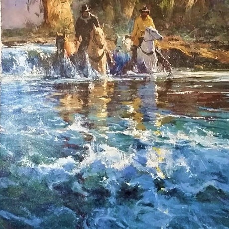 (CreativeWork) RIVER CROSSING by Robert Hagan. Oil Paint. Shop online at Bluethumb.