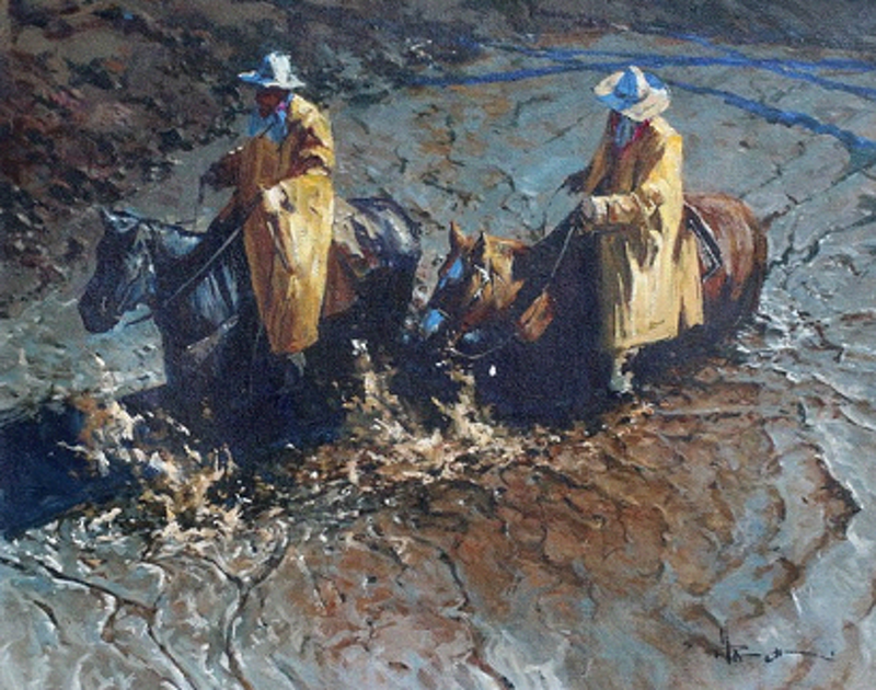 (CreativeWork) IN THE WET by Robert Hagan. oil-painting. Shop online at Bluethumb.