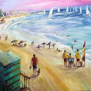 (CreativeWork) AT BRIGHTON BEACH by Ivana Pinaffo. arcylic-painting. Shop online at Bluethumb.