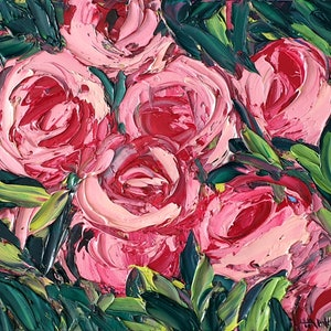 (CreativeWork) Heart Of Hearts- FRAMED - Abstract Roses by Angela Hawkey. oil-painting. Shop online at Bluethumb.