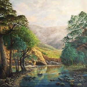 (CreativeWork) Serenity at Ormiston Gorge by Cheng Huat Lee. arcylic-painting. Shop online at Bluethumb.