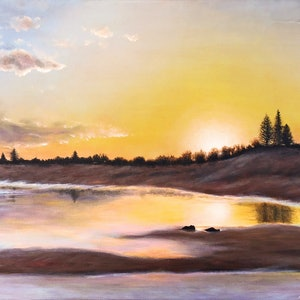 (CreativeWork) Werri Beach at Sunset NSW by Andrea Marriette. arcylic-painting. Shop online at Bluethumb.