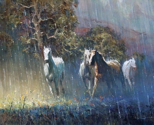 (CreativeWork) SUN SHOWER RUN by Robert Hagan. Oil Paint. Shop online at Bluethumb.