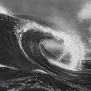 (CreativeWork) Churn - black and white wave  by Naomi Veitch. arcylic-painting. Shop online at Bluethumb.