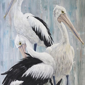 (CreativeWork) The Trio II - Pelicans by Naomi Veitch. arcylic-painting. Shop online at Bluethumb.