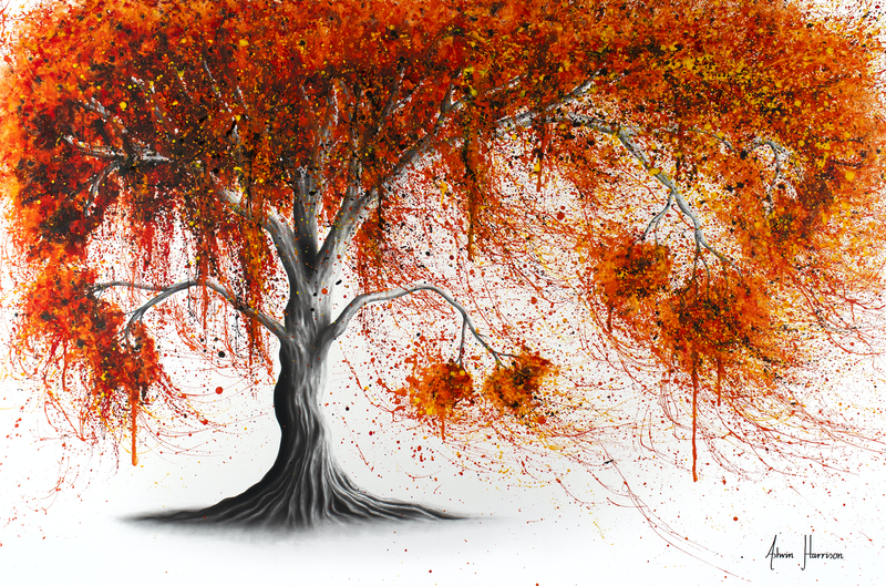 (CreativeWork) Crisp Amber Tree by Ashvin Harrison. arcylic-painting. Shop online at Bluethumb.