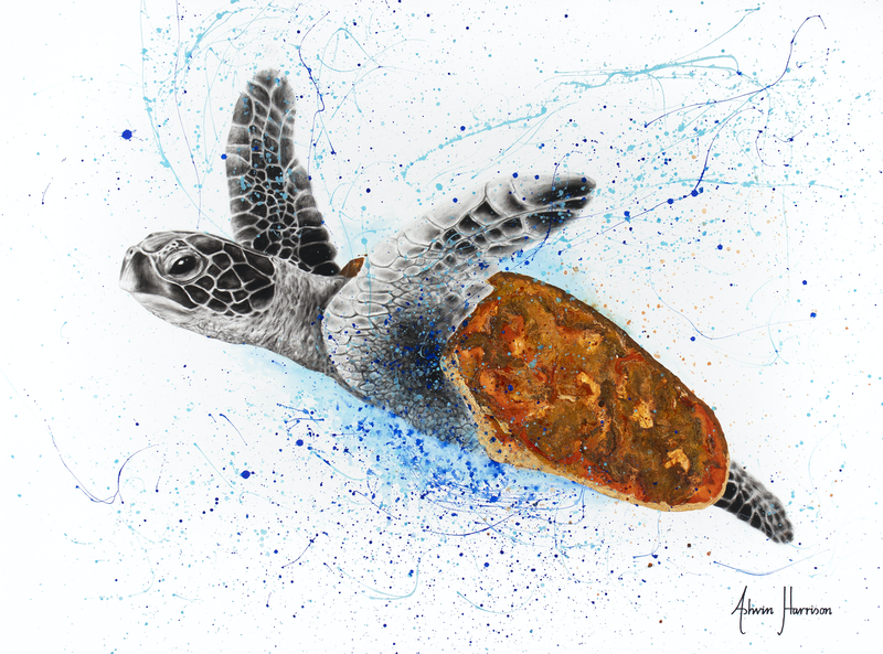 (CreativeWork) Opulent Ocean Turtle by Ashvin Harrison. arcylic-painting. Shop online at Bluethumb.