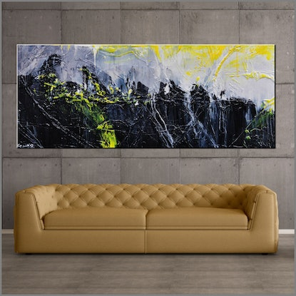 (CreativeWork) Retrofaction 200cm x 80cm Neon Yellow Black Grey Textured Acrylic Abstract Gloss Finish FRANKO by _Franko _. #<Filter:0x00007fc221018818>. Shop online at Bluethumb.