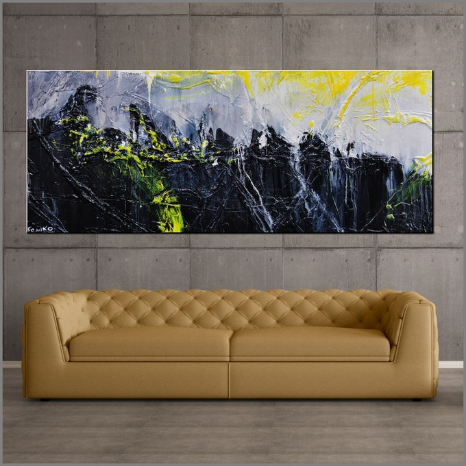 (CreativeWork) Retrofaction 200cm x 80cm Neon Yellow Black Grey Textured Acrylic Abstract Gloss Finish FRANKO by _Franko _. #<Filter:0x0000564737d5ffa0>. Shop online at Bluethumb.