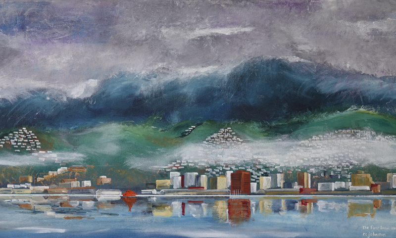 (CreativeWork) The First Snow, Hobart by Christopher Johnston. Acrylic Paint. Shop online at Bluethumb.