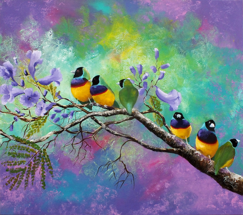 (CreativeWork) Gouldian Finches in the Jacaranda  - Limited Edition Ed. 19 of 50 by Rhonda Armistead. print. Shop online at Bluethumb.