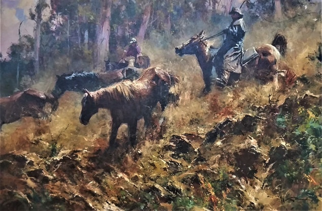 (CreativeWork) 'DANGEROUS RUN' - COLLECTIBLE....ICONIC!! ( as in Man from Snowy River) NEW PHOTOS by Robert Hagan. Oil Paint. Shop online at Bluethumb.